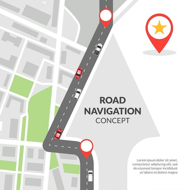Koncepcja nawigacji drogowej Darmowych Wektorów