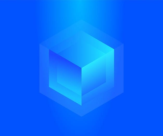 Koncepcja Neonowego Bloku Do Przechowywania Dużych Danych. Streszczenie Technologia Tło Premium Wektorów