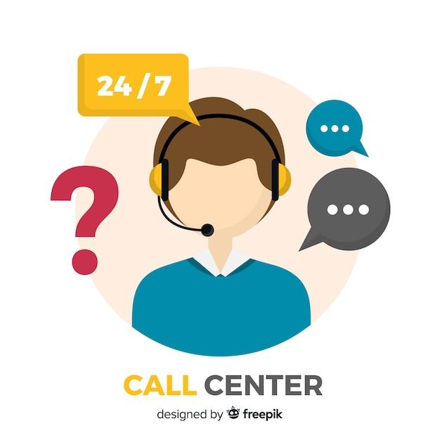 Koncepcja Nowoczesnego Call Center W Płaskiej Konstrukcji Premium Wektorów