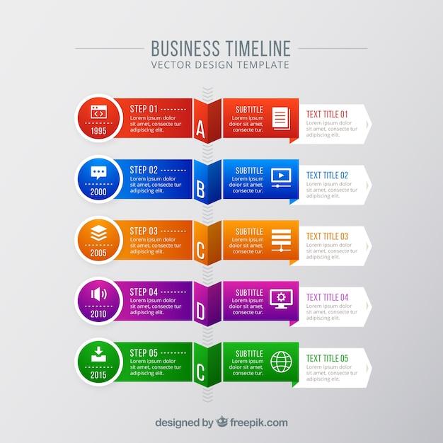 Koncepcja Nowoczesnej Kolorowej Firmy Timeline Darmowych Wektorów