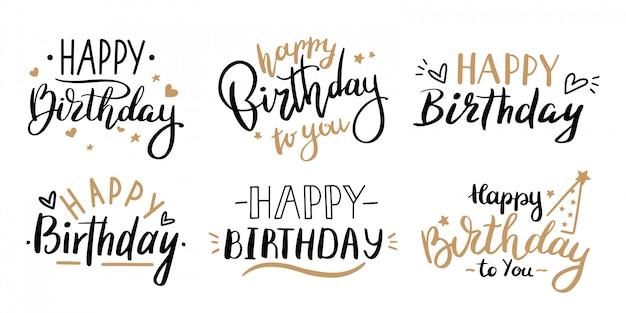 Koncepcja Obchodów Wszystkiego Najlepszego. Pozdrowienie Urodziny Napis Z Celebracja Ręcznie Rysowane Elementy, Zestaw Ozdobnych Zaproszeń. Rocznica Czarno-złoty Napis Odręczny Premium Wektorów
