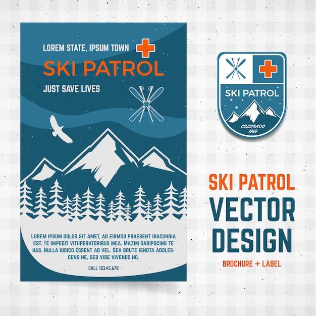 Koncepcja obozu patrolowego szablon ulotki Premium Wektorów