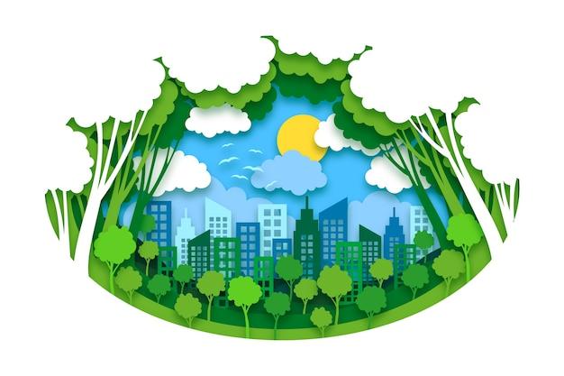 Koncepcja Ochrony środowiska W Stylu Papieru Premium Wektorów