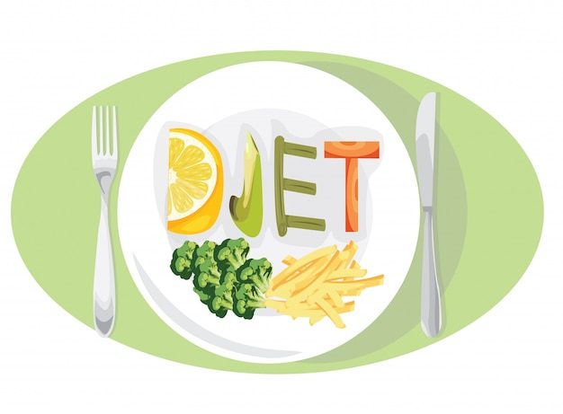 Koncepcja Odchudzania Diety Z Owocami I Warzywami Premium Wektorów