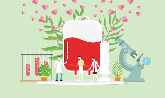 Koncepcja Oddawania Krwi Z Workiem Ludzi I Krwi Premium Wektorów