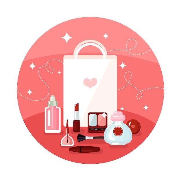 Koncepcja okrągłych kosmetyków Darmowych Wektorów