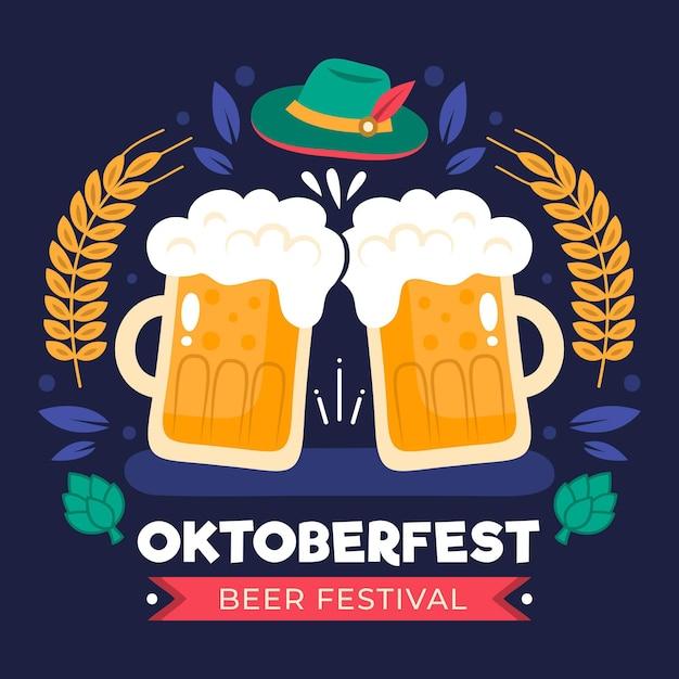 Koncepcja Oktoberfest W Płaskiej Konstrukcji Premium Wektorów