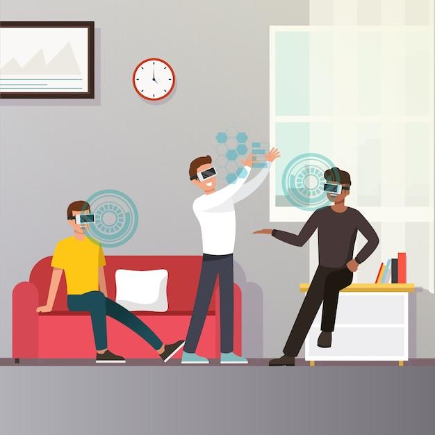 Koncepcja okularów wirtualnej rzeczywistości rozszerzonej Premium Wektorów