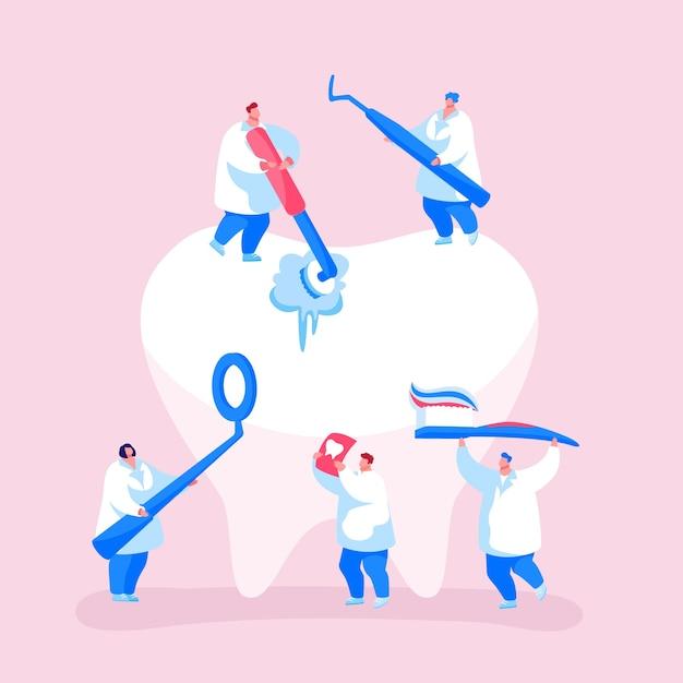 Koncepcja Opieki Stomatologicznej. Drobne Postacie Dentystów W Czyszczeniu Szat Lekarskich Premium Wektorów