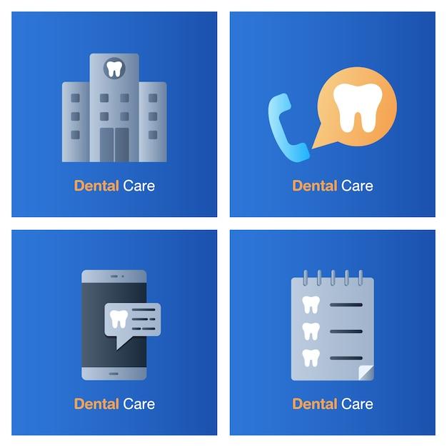 Koncepcja Opieki Stomatologicznej. Zapobieganie, Kontrola I Leczenie Stomatologiczne. Premium Wektorów