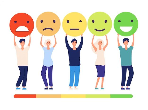 Koncepcja Opinii Klientów. Ludzie I Pomiary Opinii Status Rekomendacja Zatwierdzenia Opinii. Emotikony Od Złego Do Dobrego Zestawu Premium Wektorów