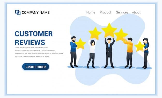 Koncepcja Opinii Klientów Z Różnymi Osobami Daje Ocenę Opinii I Opinie Z Gwiazdami Gospodarstwa. Ilustracja Premium Wektorów