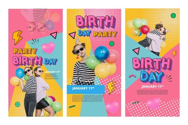 Koncepcja Opowiadań Na Instagramie Urodziny Darmowych Wektorów