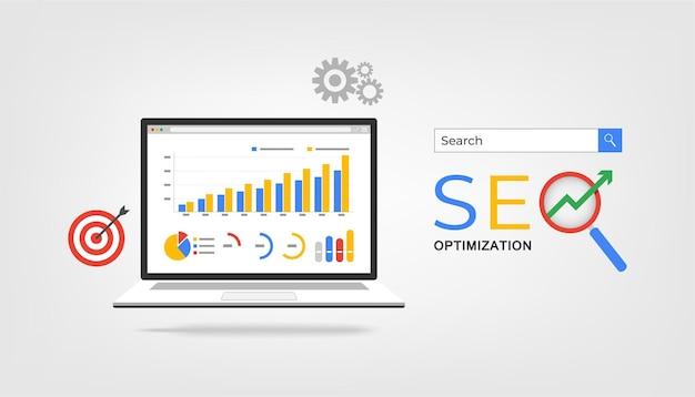 Koncepcja Optymalizacji Seo. Premium Wektorów