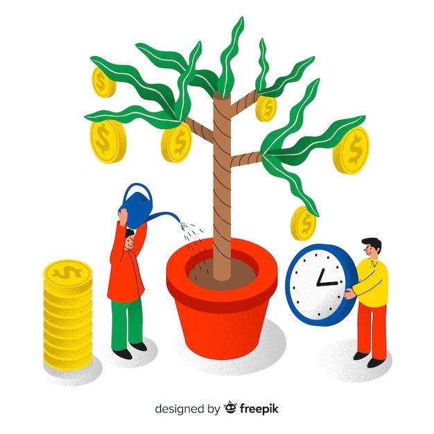 Koncepcja oszczędzania pieniędzy Darmowych Wektorów