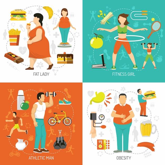 Koncepcja otyłości i zdrowia Darmowych Wektorów