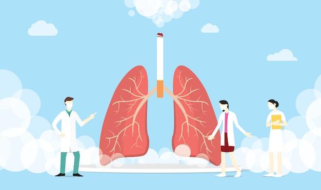 Koncepcja Papierosów Z Dymem Płucnym Premium Wektorów