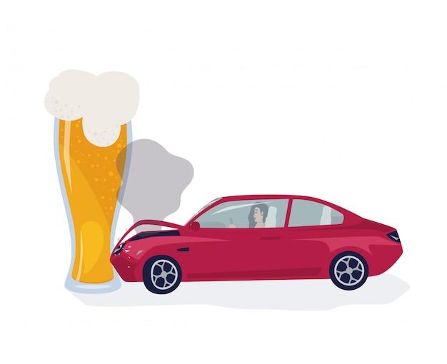 Koncepcja Pijanego Kierowcy. Samochód Wskoczył Do Szklanki Do Piwa. Kolorowa Ilustracja. Premium Wektorów