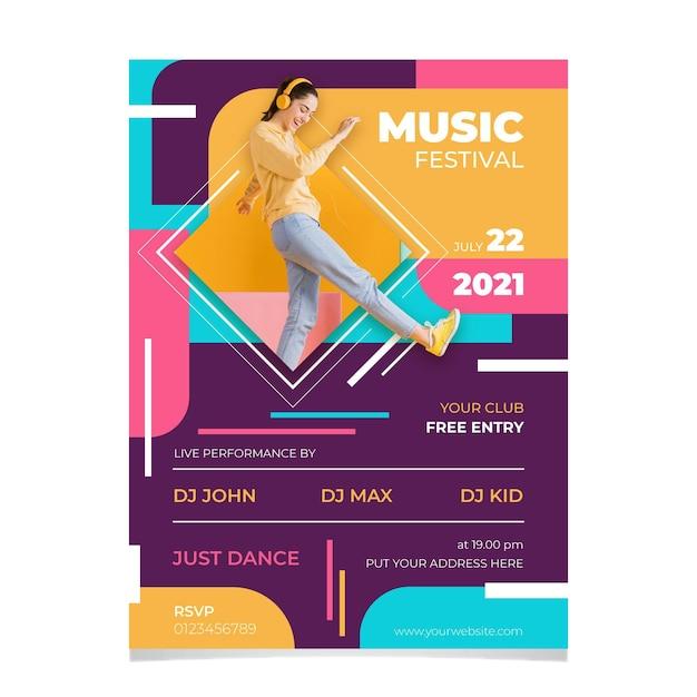 Koncepcja Plakatu Festiwalu Muzycznego 2021 Darmowych Wektorów