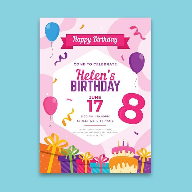 Koncepcja Plakatu Urodziny Darmowych Wektorów