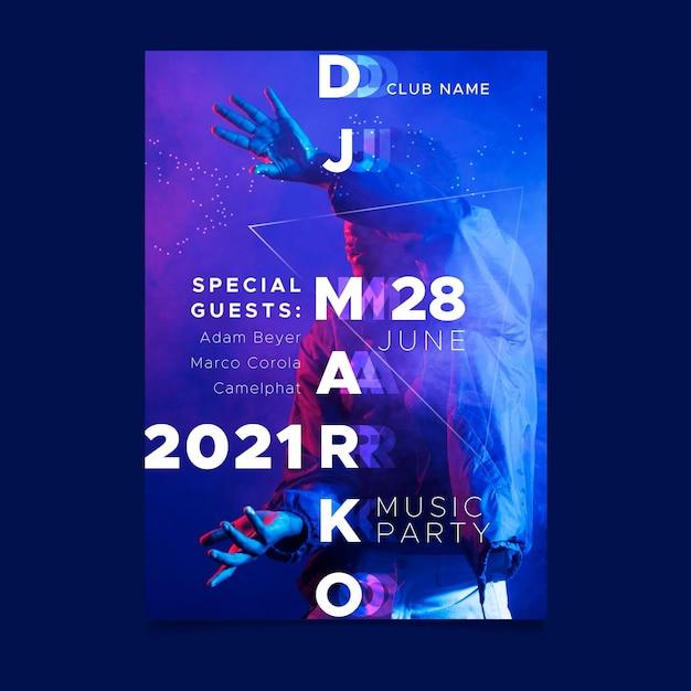 Koncepcja Plakatu Wydarzenia Muzycznego 2021 Premium Wektorów