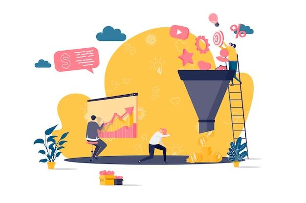 Koncepcja Płaska Lejka Marketingowego Z Ilustracjami Postaci Ludzi Premium Wektorów