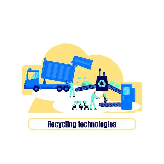 Koncepcja Płaska Zakładu Recyklingu. Zwrot Technologie Recyklingu. Ponownie Wykorzystaj Zasób. Fabryka Produkuje Ilustracje Animowane 2d Do Projektowania Stron Internetowych. Przetwarzanie Odpadów Kreatywny Pomysł Premium Wektorów