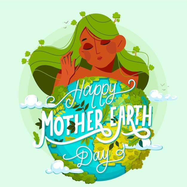 Koncepcja Płaski Dzień Matki Ziemi Darmowych Wektorów