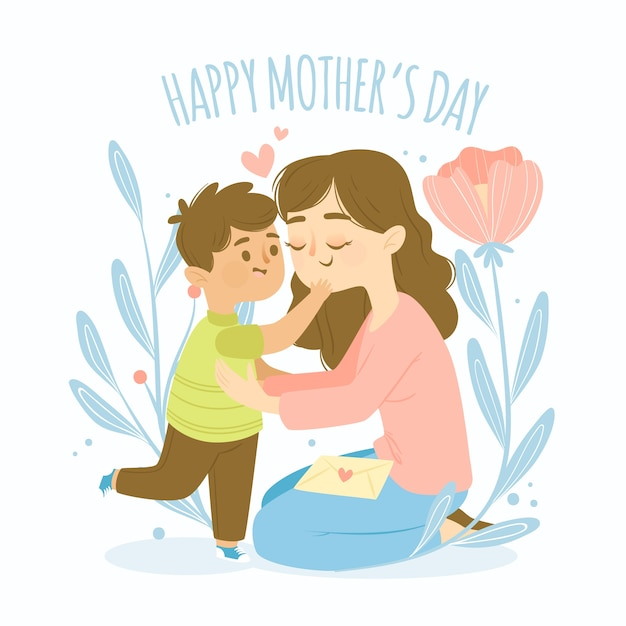 Koncepcja płaski dzień matki Darmowych Wektorów