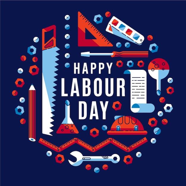 Koncepcja Płaski Dzień Pracy Darmowych Wektorów