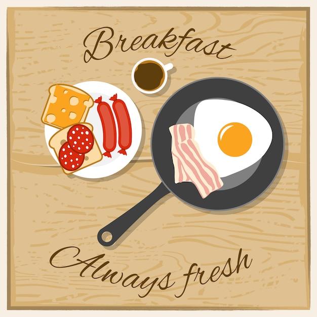 Koncepcja Płaski Kolor śniadanie Darmowych Wektorów