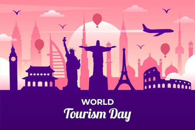 Koncepcja Płaski światowy Dzień Turystyki Darmowych Wektorów