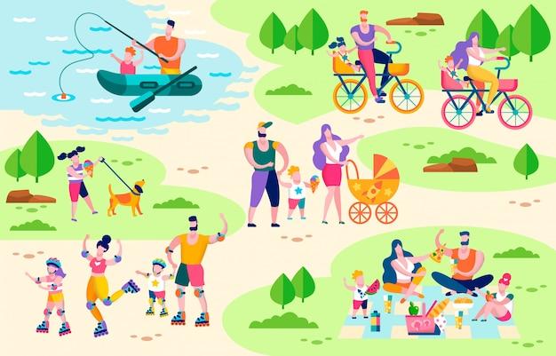 Koncepcja płaski wektor rodziny aktywnego wypoczynku na świeżym powietrzu Premium Wektorów