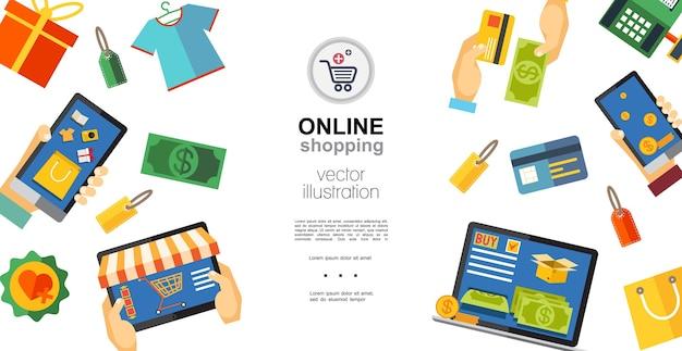 Koncepcja Płaskich Zakupów Online Darmowych Wektorów