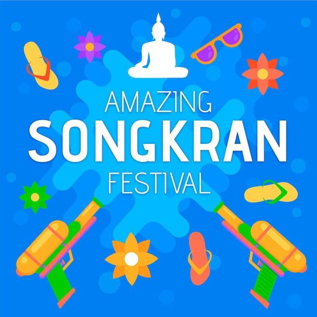 Koncepcja Płaskiego Songkran Darmowych Wektorów