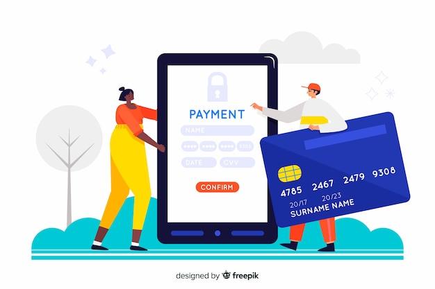 Koncepcja Płatności Kartą Kredytową Za Stronę Docelową Darmowych Wektorów