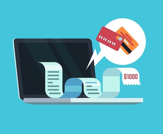 Koncepcja płatności online i faktury cyfrowej. płacenie paragonu na ekranie komputera. Premium Wektorów