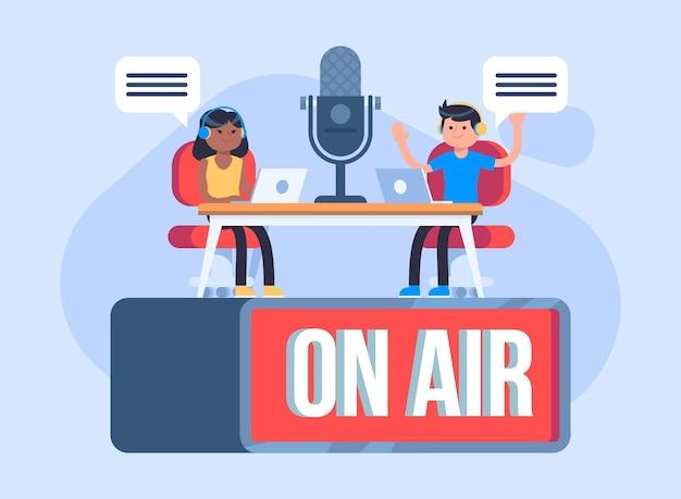 Koncepcja Podcastu Na Ilustracji Powietrza Darmowych Wektorów