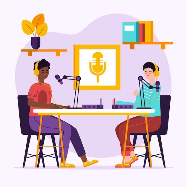 Koncepcja Podcastu Z Postaciami Darmowych Wektorów