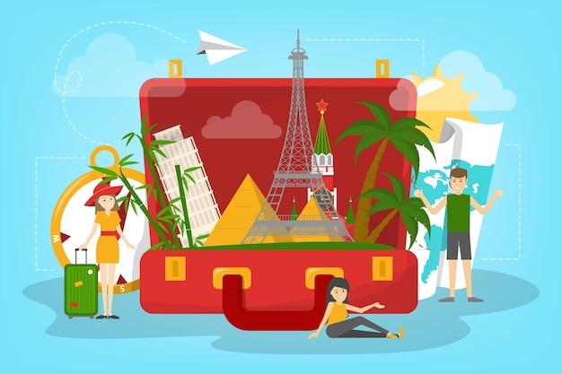 Koncepcja Podróży. Idea Turystyki Na świecie. Wakacje Premium Wektorów