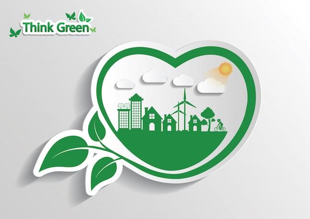 Koncepcja połączenia ekologii. myśleć ekologicznie Premium Wektorów