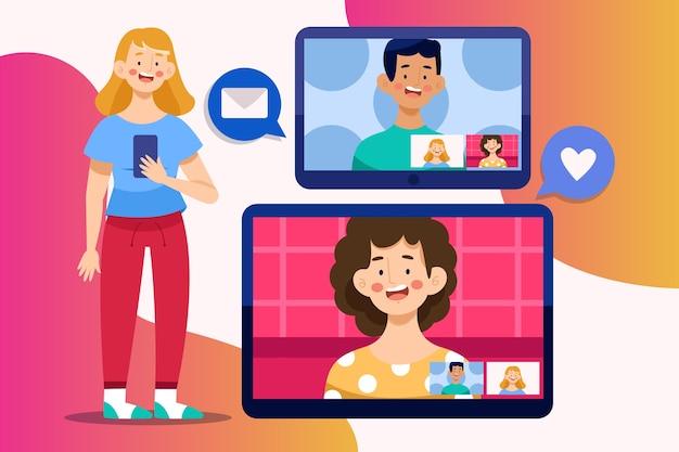 Koncepcja Połączenia Wideo Znajomych Darmowych Wektorów