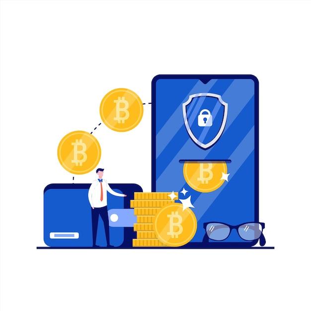 Koncepcja Portfeli Kryptowalut Online Z Charakterem. Ludzie Stoją W Pobliżu Smartfona Z Bitcoinami, Chronią Bezpieczeństwo. Nowoczesny Styl Płaski Na Stronę Docelową, Aplikację Mobilną, Plakat, Ulotkę, Infografiki, Obrazy Bohaterów. Premium Wektorów