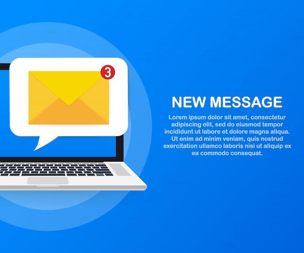 Koncepcja Powiadomienia E-mail. Nowa Wiadomość E-mail Na Ekranie Laptopa. . Premium Wektorów