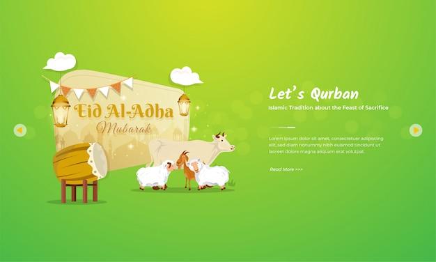 Koncepcja Pozdrowienia Eid Al Adha Mubarak Z Charakterem Bydła, Kóz I Owiec Premium Wektorów