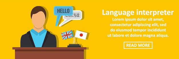 Koncepcja pozioma transparentu tłumacza języka Premium Wektorów