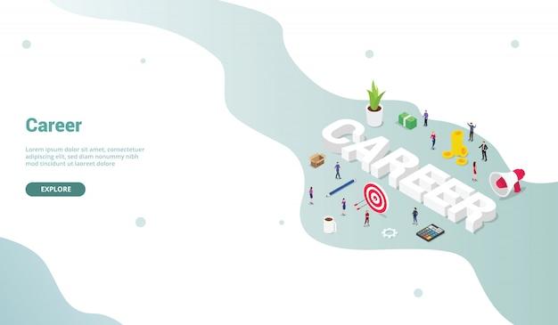 Koncepcja pracy biznesowej w karierze z izometrycznym nowoczesnym stylem płaskiej strony internetowej do projektowania strony startowej Premium Wektorów