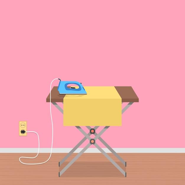 Koncepcja Pracy W Domu Z Deską Do Prasowania I żelazkiem Do Ubrań Premium Wektorów