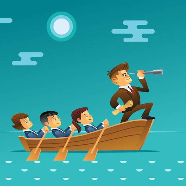 Koncepcja Pracy Zespołowej. Biznesmen Z Spyglass Prowadzenia Biznesu Drużyny żeglowaniem Na łodzi W Oceanie. Styl Kreskówkowy Premium Wektorów