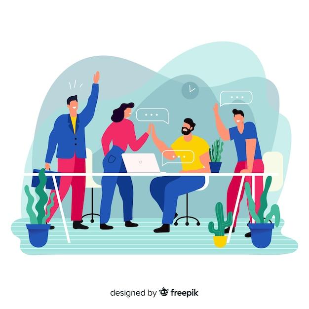 Koncepcja pracy zespołowej na stronie docelowej Darmowych Wektorów